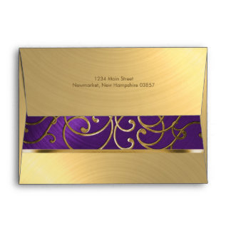 Quinceanera Purple and Gold Filigree Swirls Envelope