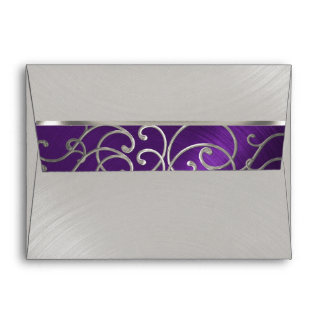 Quinceanera Purple and Silver Filigree Swirls Envelope