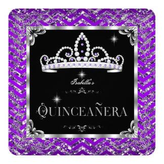 Quinceanera Purple Black Silver Diamond Tiara Invitation