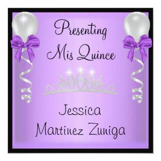 Quinceanera Purple Black Silver Jewel Tiara Invitation