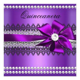 Quinceanera Purple Bow Black Pearl Lace Diamond Personalized Invite