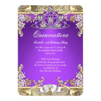 Quinceanera Purple Gold White 15th Birthday Party 4.5x6.25 Paper Invitation Card