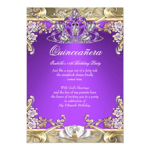 Quinceanera Purple Gold White 15th Birthday Party Card ...