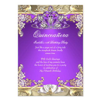 Quinceanera Purple Gold White 15th Birthday Party 5x7 Paper Invitation Card