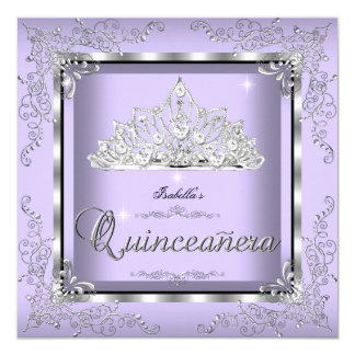 Quinceanera Purple Lavender Silver Diamond Tiara 3 Card
