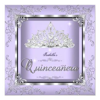 """Quinceanera Purple Lavender Silver Diamond Tiara 3 5.25"""" Square Invitation Card"""