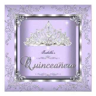 Quinceanera Purple Lavender Silver Diamond Tiara 3 Invitation