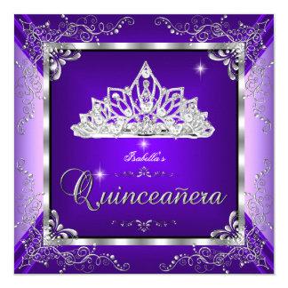Quinceanera Purple Lavender Silver Diamond Tiara Invitation