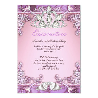 Quinceanera Purple Pink 15th Birthday Party Card