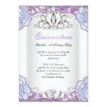 Quinceanera Purple Pink Blue White 15th Birthday 5x7 Paper Invitation Card