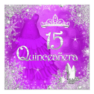 Quinceanera Purple Pink Silver Snowflake Party Invitation