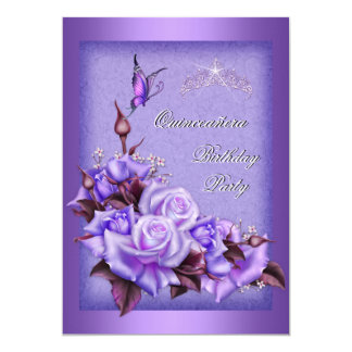 Quinceanera Purple Roses Butterfly Floral 2a Card