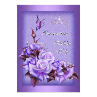 Quinceanera Purple Roses Butterfly Floral 2a 5x7 Paper Invitation Card