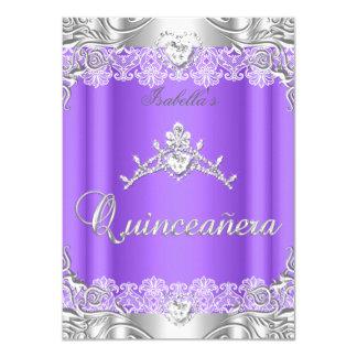 Quinceanera Purple Silver Diamond Tiara 15th Party 4.5x6.25 Paper Invitation Card