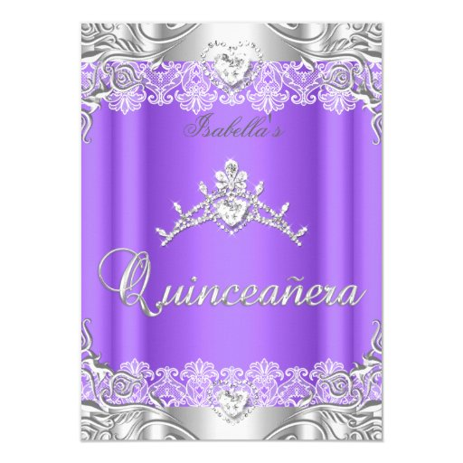 Quinceanera Purple Silver Diamond Tiara 15th Party Card