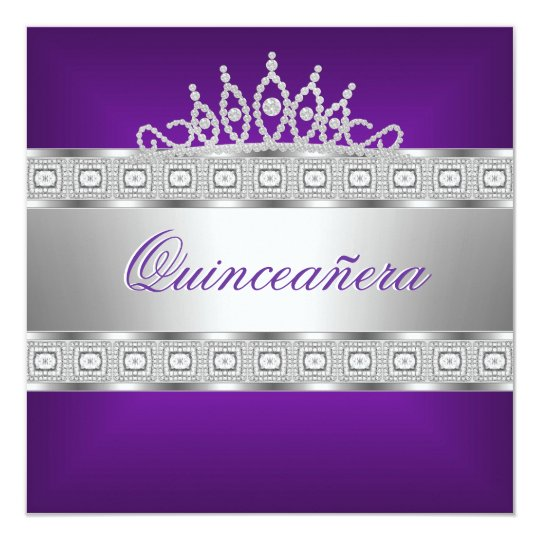 Quinceanera Purple Silver Jewel 15th Birthday Card