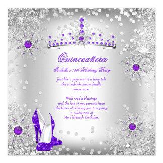 Quinceanera Purple Silver Winter Wonderland Card