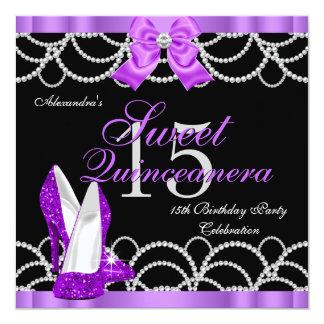 Quinceanera Purple Sweet 15 Party Glitter Black Invitation