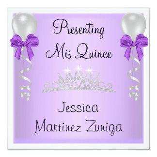 Quinceanera Purple White Silver Jewel Tiara Card