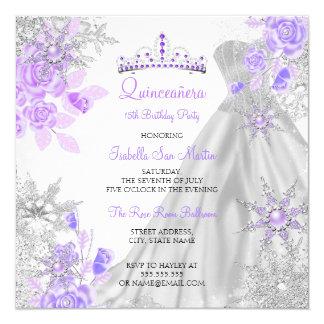 Quinceanera Purple Winter Wonderland Snowflake 2 Card