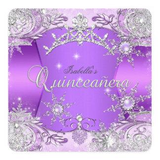 Quinceanera Purple Winter Wonderland Snowflakes Card
