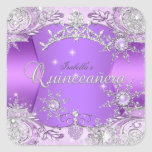 Quinceanera Purple Winter Wonderland Snowflakes Square Sticker