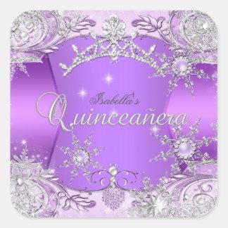 Quinceanera Purple Winter Wonderland Snowflakes Square Stickers