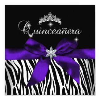 Quinceanera Purple Zebra Black White Diamonds Card