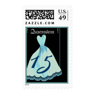 QUINCEANERA - QUINCE Birthday Aqua Blue Gown Stamp