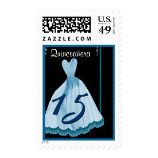 QUINCEANERA - QUINCE Birthday Blue Gown Stamp
