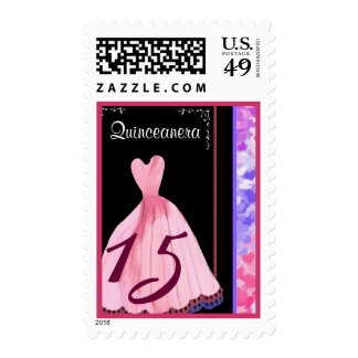 QUINCEANERA -QUINCE Birthday Pink Gown Stamp