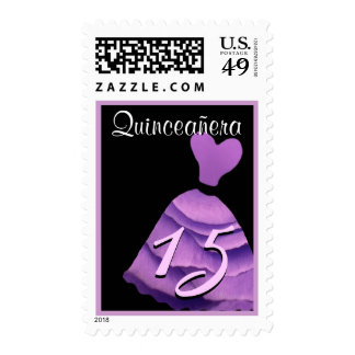 QUINCEANERA - QUINCE Birthday Purple Gown Postage Stamps