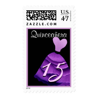 QUINCEANERA - QUINCE Birthday Purple Gown Postage