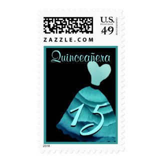 QUINCEANERA - QUINCE Birthday Turquoise Blue Gown Postage Stamp