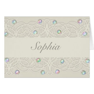 Quinceanera Rainbow Crystals Sparkle and Lace Card