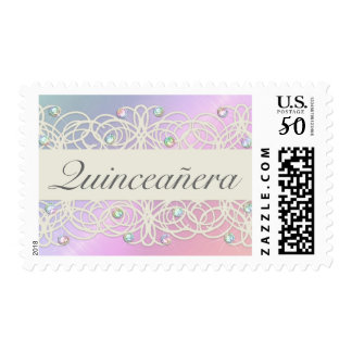 Quinceanera Rainbow Crystals Sparkle and Lace Postage