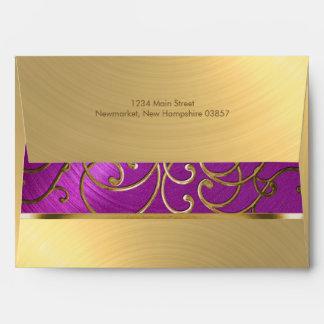 Quinceanera Raspberry Pink Gold Filigree Swirls Envelope