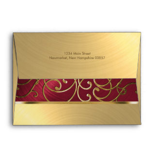 Quinceanera Red and Gold Filigree Swirls Envelope