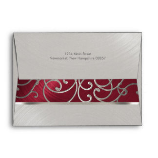 Quinceanera Red and Silver Filigree Swirls Envelope
