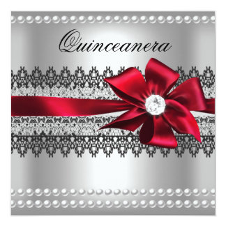 Quinceanera Red Bow Black Pearl Lace Diamond Card