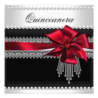 Quinceanera Red Bow Black Pearl Lace Diamond Custom Invitations