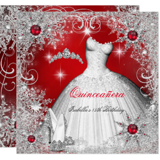 Quinceanera Red Pearl Silver Winter Snowflakes Card