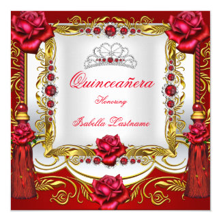 Quinceanera Regal Red Gold Rose Tassels Tiara Card