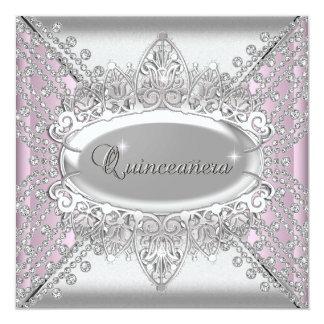 """Quinceanera rosado 15 diamantes del blanco de la invitación 5.25"""" x 5.25"""""""