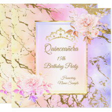 Quinceanera Rose  Purple Pink Gold Birthday Party Invitation