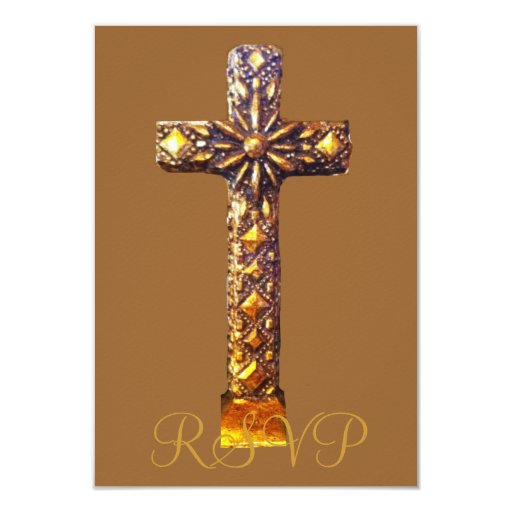 Quinceanera RSVP 15th Birthday Gold Cross 3.5x5 Paper Invitation Card