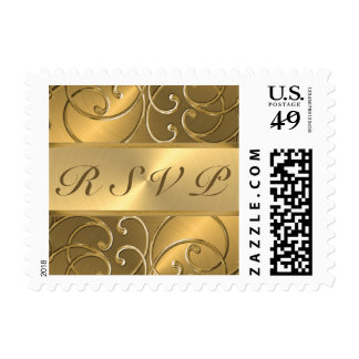 Quinceanera RSVP All Gold Filigree Swirl Border Stamp