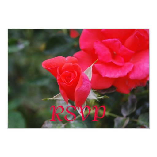 Quinceanera RSVP Red Rose Card