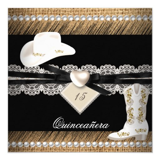 Quinceanera Rustic Burlap Cowgirl Hat Boots Party Card