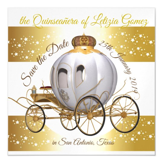 quinceanera save the date gold princess carriage magnetic invitation